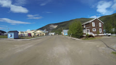 Dawson City 5th Ave Historic Buildings Restaurants and Inns Driving POV 2 Stock Footage