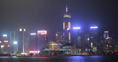 4K video of the Hong Kong convention and exhibition center at night Stock Footage
