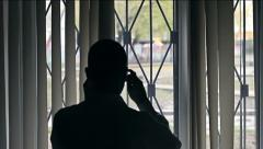 Man at His Window Stock Footage
