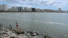 View of the city. Santos, São Paulo, Brazil. Sao Paulos litoral coast. Stock Footage