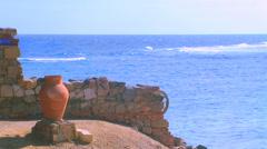 Amphora on beach near sea. Stock Footage