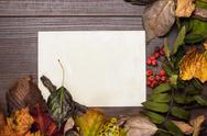Stock Photo of colorful autumn leaves and blank sheet of paper background