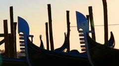 Close up Gondolas in Venice Stock Footage