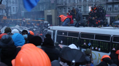 Strike in Ukraine - A new wave: real fights with police! Stock Footage
