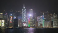 Stock Video Footage of Hong Kong skyscrapers at night in HD