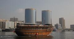 Ultra HD 4K Ship Tourist Traditional Dhow Deira Creek Harbour Persian Gulf Dubai Stock Footage