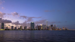 Miami City Skyline Day to Night Key Biscayne Miami Dade County Florida Stock Footage