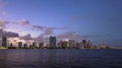 Miami City Skyline Day to Night Key Biscayne Miami Dade County Florida - stock footage