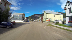 Dawson City YT Canada 2nd Avenue Historic Buildings and Tourist Traffic Drivi Stock Footage