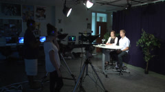 Students on camera tv class WS Stock Footage
