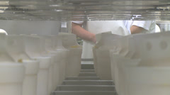 Producing traditional cheese, conveyor belt Stock Footage