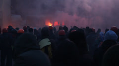 Strike in Ukraine - Fire and real fights with police! Stock Footage