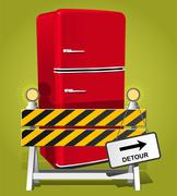 go on diet! - red retro refrigerator - stock illustration