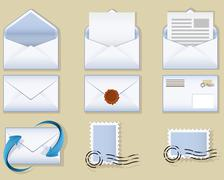 envelope icons - stock illustration