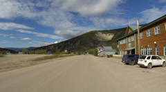 Dawson City YT Canada North Front Street Toward Ferry Driving POV 2 Stock Footage