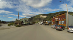 Dawson City YT Canada North Front Street Toward Ferry Driving POV 1 Stock Footage