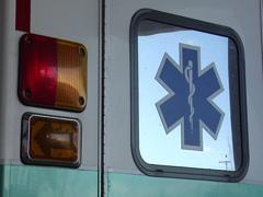 Ambulance, flashing tail light Stock Footage