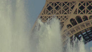 Stock Video Footage of Eiffel Tower Tour Artezian well fountain jet water summer holiday romantic Paris