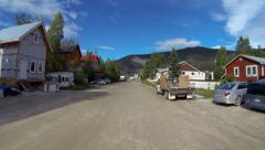 Dawson City YT Canada Turning from Front Street onto 2nd Avenue Driving POV Stock Footage