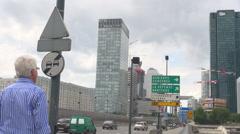 La Defense financial district corporate modern business office skyscraper Paris  Stock Footage