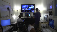 Students in control to on cam to teleprompter Stock Footage