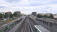 Stock Video Footage of Metro train pass traffic car street avenue Paris cloudy day tourist commute road