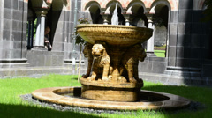 Lion fountain at Maria Laach Monastery. Stock Footage