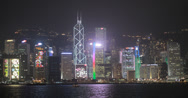 Stock Video Footage of Hong Kong skyscrapers at night in 4K