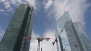 Stock Video Footage of Crane built financial business corporate day La Defense Paris high skyscraper