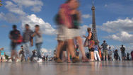 Stock Video Footage of Timelapse tourist people admire enjoy Eiffel Tour Paris sunny day summer time