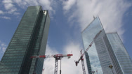 Stock Video Footage of La Defense Paris Timelapse construction site built modern skyscraper blue sky