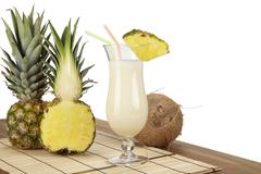 pina colada with pineapple and coconut - stock photo