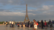 Stock Video Footage of Happy family enjoy Eiffel Tower Tour sunset trocadero tourist travel icon Paris