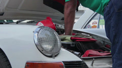 Porsche 911 classic 1963 the company's first model auto-show Stock Footage