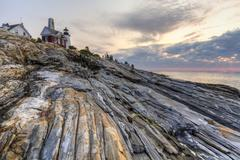 All rocks point to Pemaquid - stock photo