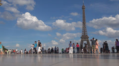 Tourist people enjoy Eiffel Tower Tour sunny day blue sky relax walking tourism  Stock Footage