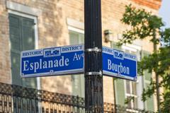 Esplanade and Bourbon Sign - stock photo