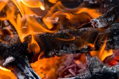 abstract background burning coals. texture - stock photo