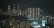 Stock Video Footage of High rise apartment blocks in Hong Kong at night in 4K