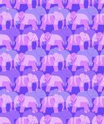 Purple Seamless Elephant Background - stock illustration