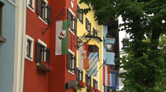 Kitzbühel's colourful town centre Stock Footage