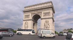 Triomphe Arc Etoile Triumph Arch Monument car pass Place Charles Gaulle Paris  Stock Footage