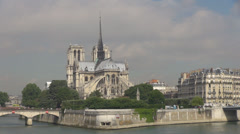 Panoramic view Notre Dame church Paris France french cathedral sunny day iconic  Stock Footage