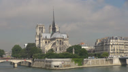 Stock Video Footage of Panoramic view Notre Dame church Paris France french cathedral sunny day iconic