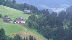 Kitzbühel farm and mountain valley_03 Stock Footage
