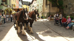 Horses and carriage in Kitzbühel town centre Stock Footage