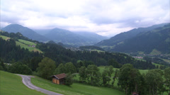 Kitzbühel farm and mountain valley_04 Stock Footage