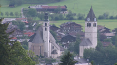 Kitzbühel clock tower and city centre_02 Stock Footage