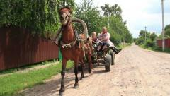 Family rides on horse cart rubber wheels, summer countryside Stock Footage