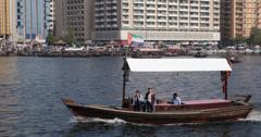 Ultra HD 4K Taxi Boat Tour Trip Ride Abra Old Deira Creek Dubai City Daylight Stock Footage